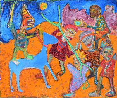 York der Knoefel, Gott holt seinen Sohn zurück, 1990, Öl auf Leinwand, 200 x 300 cm